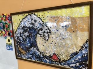 貼り絵で作った葛飾北斎の「神奈川沖浪裏」